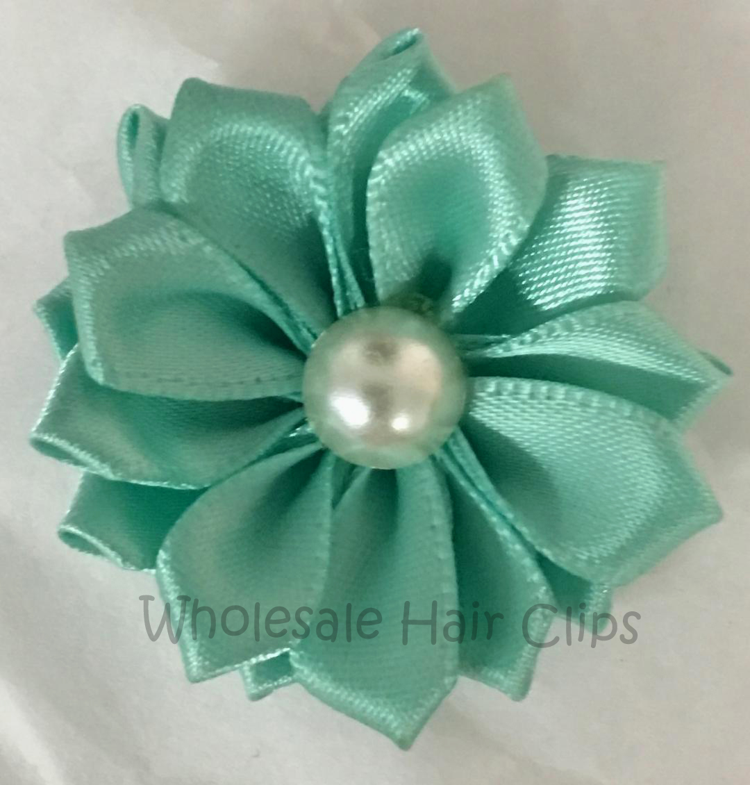 "1.5"" Ribbon Flowers with Pearl Centre - Aqua Blue"