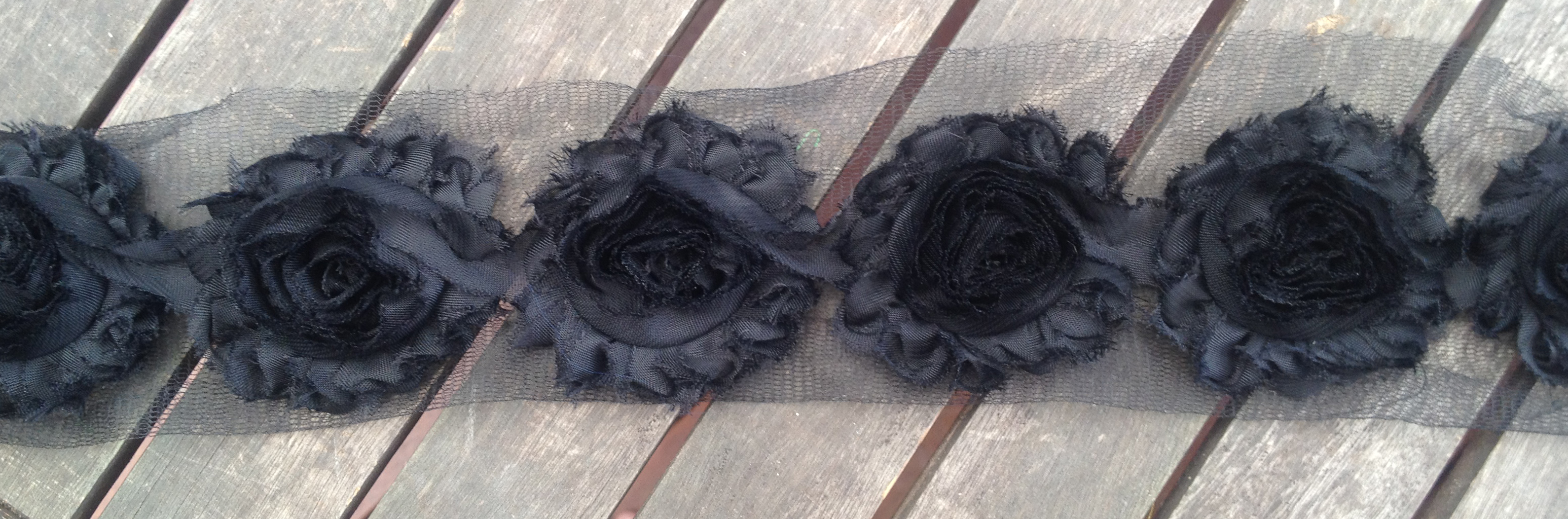 Ravelled Shabby Chiffon Flower Trim - Black - 1 yard