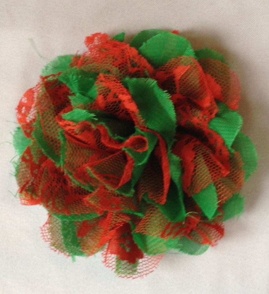 Christmas Red & Emerald Lace & Chiffon Flower 3.75in/10cm