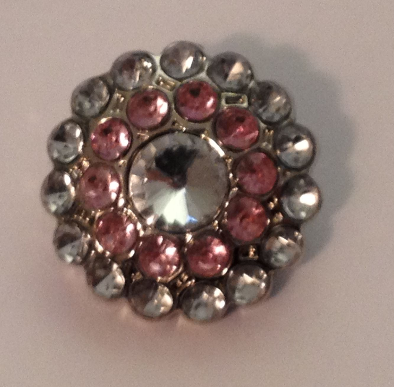 Cluster Blingy Button - Pink and Clear - 1 piece