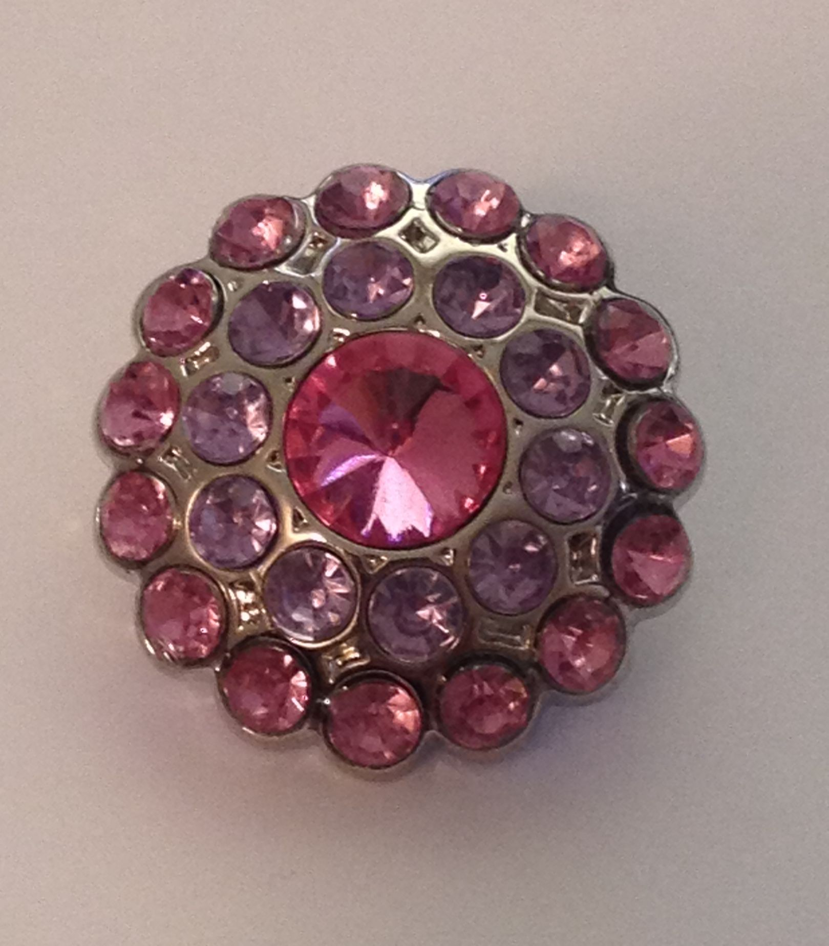 Cluster Blingy Button - Pink and Lavender - 1 piece