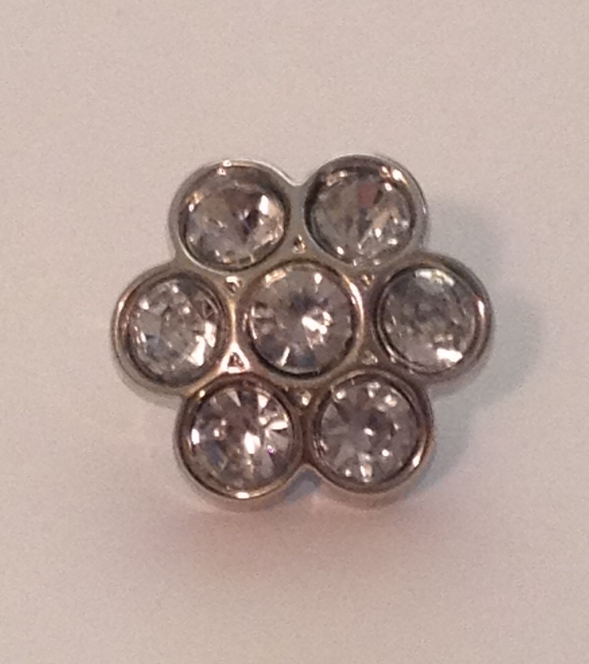 Mini Flower Blingy Button - Clear - 1 piece