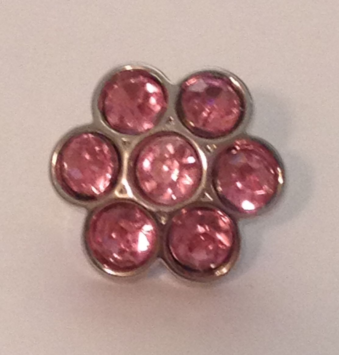 Mini Flower Blingy Button - Pink - 1 piece