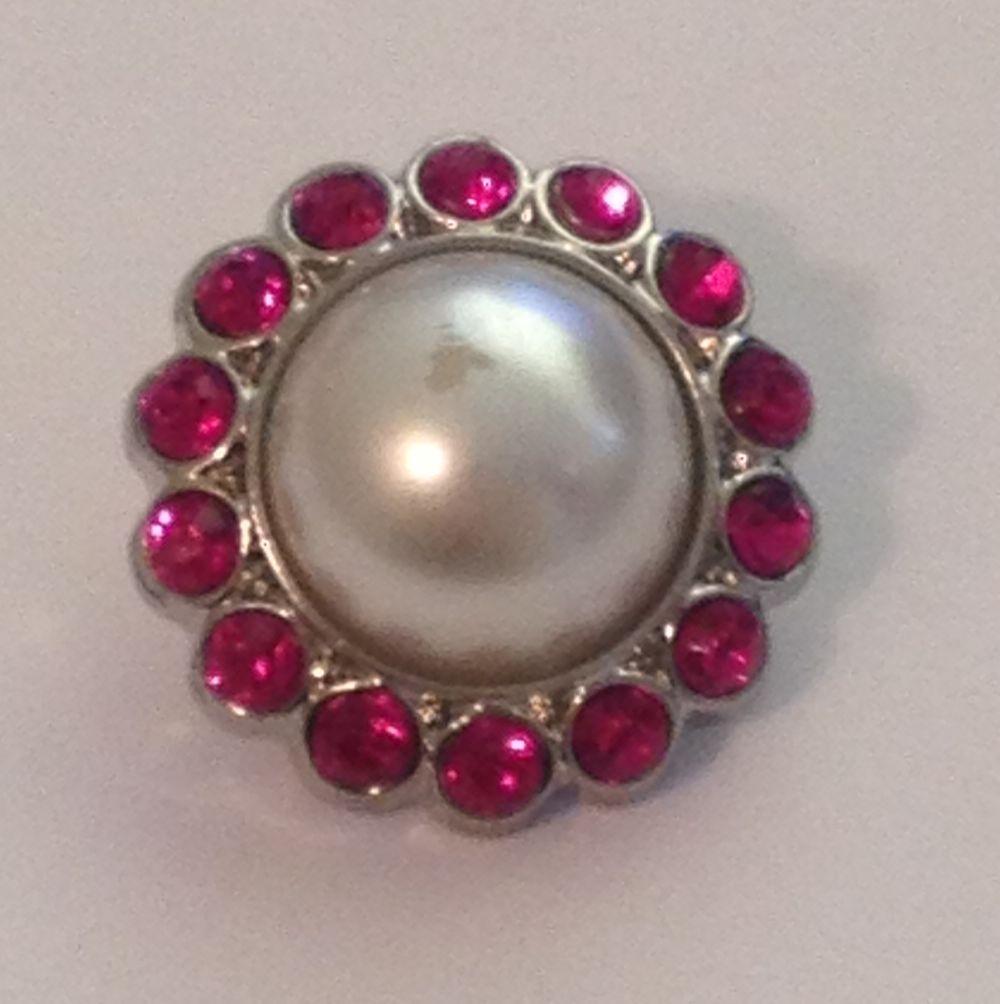 Pearl and Rhinestone Button - Hot Pink Magenta- 1 piece
