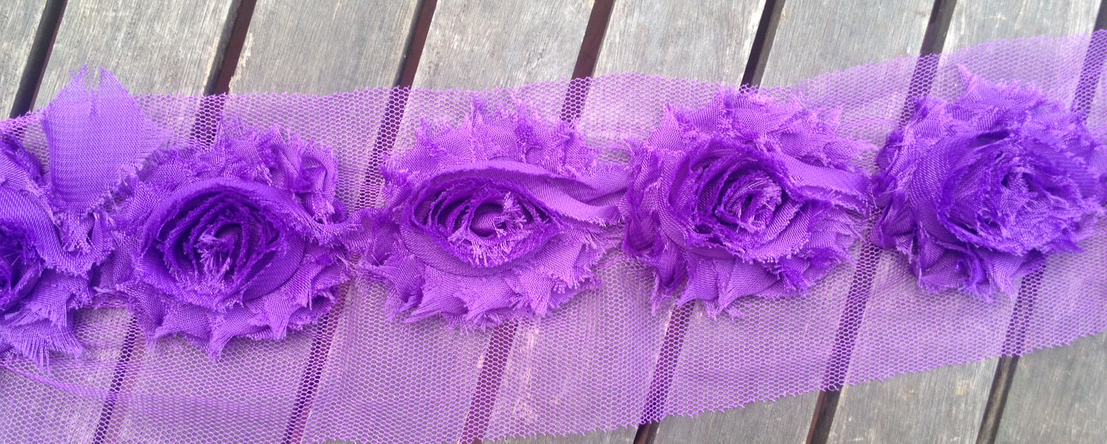 Ravelled Shabby Chiffon Flower Trim - Regal Purple - 1 yard
