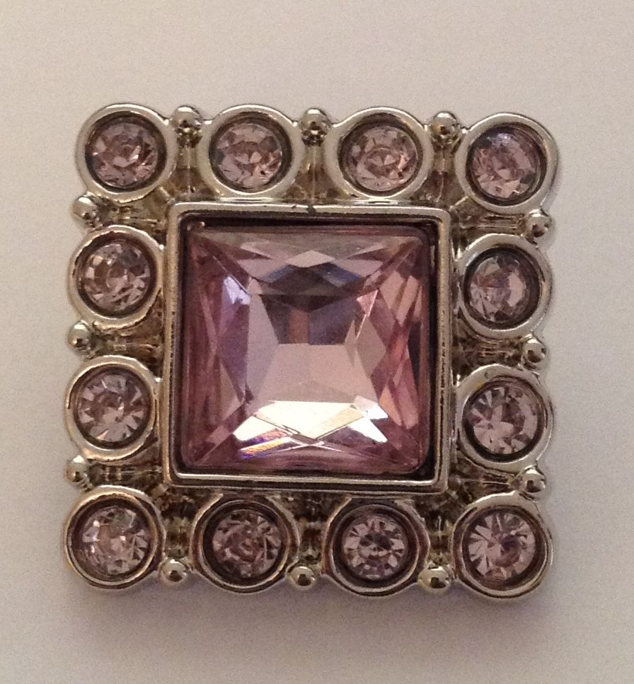 Square Bling Rhinestone Button - Light Pink - 1 piece